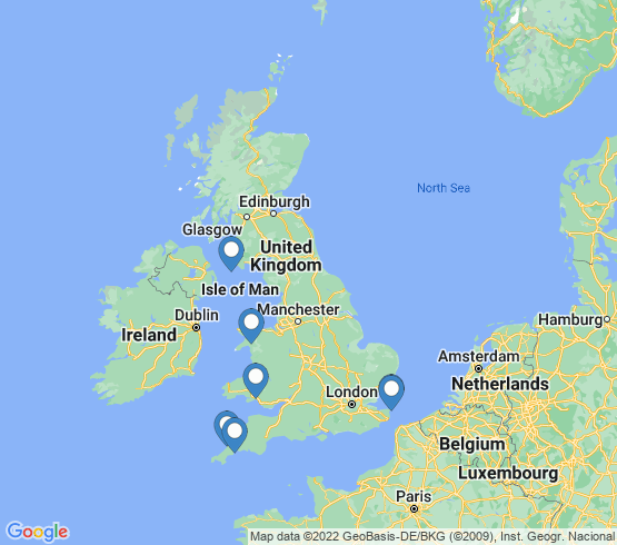 map of United Kingdom fishing charters