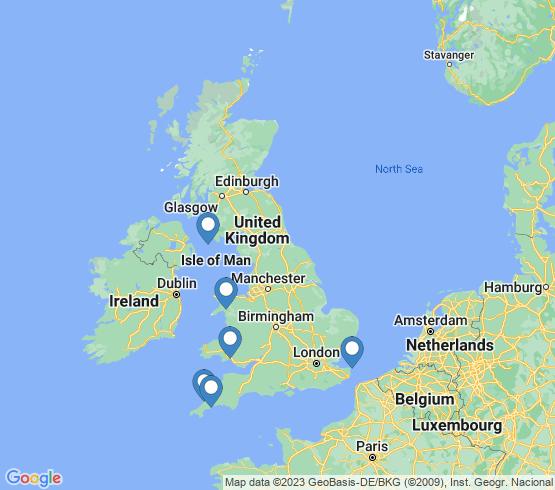 map of United Kingdom fishing charters