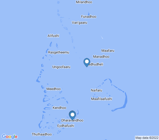 map of Velidhoo, N.Atoll fishing charters
