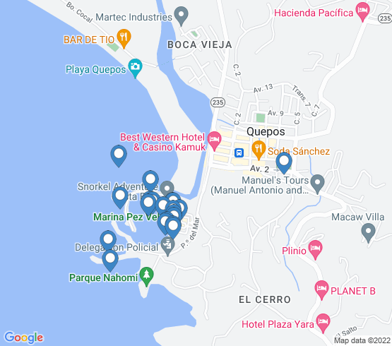 map of Quepos fishing charters