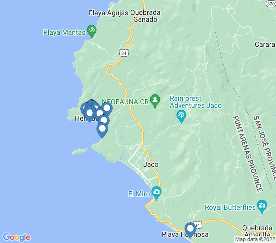 map of Jaco fishing charters