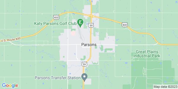 Map of Parsons, KS