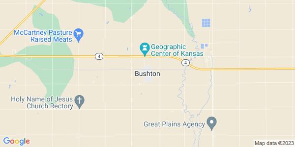 Map of Bushton, KS