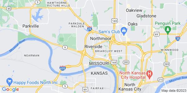 Map of Riverside, MO