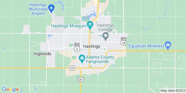 Map of Hastings, NE