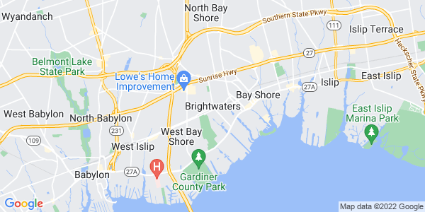 Map of Brightwaters, NY