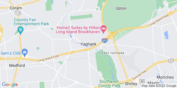 Map of Yaphank, NY