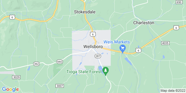 Map of Wellsboro, PA