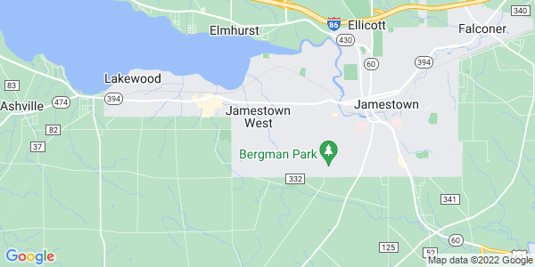 Map of Jamestown West, NY