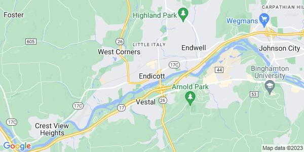 Map of Endicott, NY