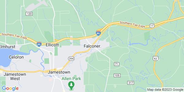 Map of Falconer, NY