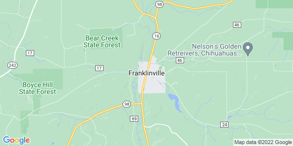 Map of Franklinville, NY