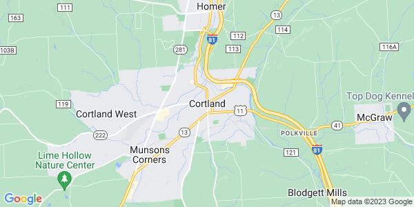 Map of Cortland, NY
