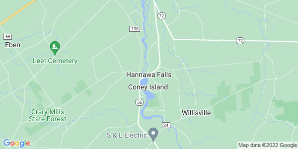 Map of Hannawa Falls, NY