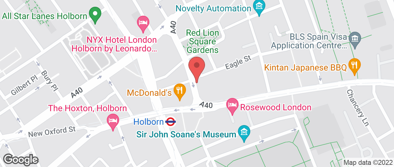 Map showing 2-28 Procter Street, London, WC1V 6NX