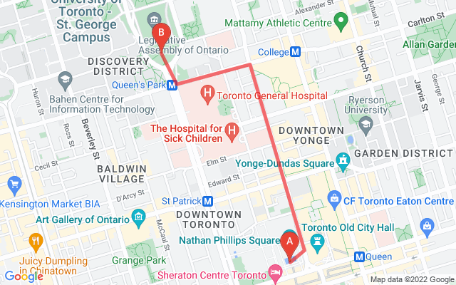 Route map of March for Science Toronto: Nathan Phillips Square up Bay to College to Queen's Park front lawn