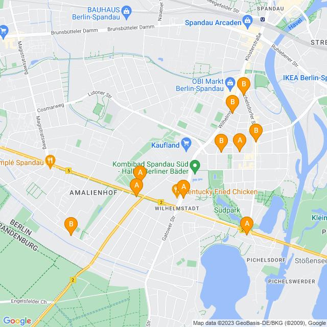 Karte Wilhelmstadt in Spandau