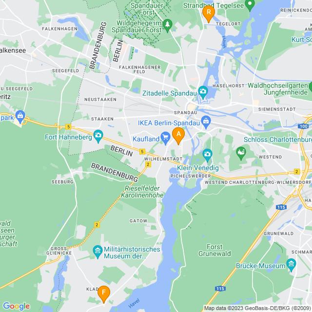 Karte Fahrradverleih in Spandau