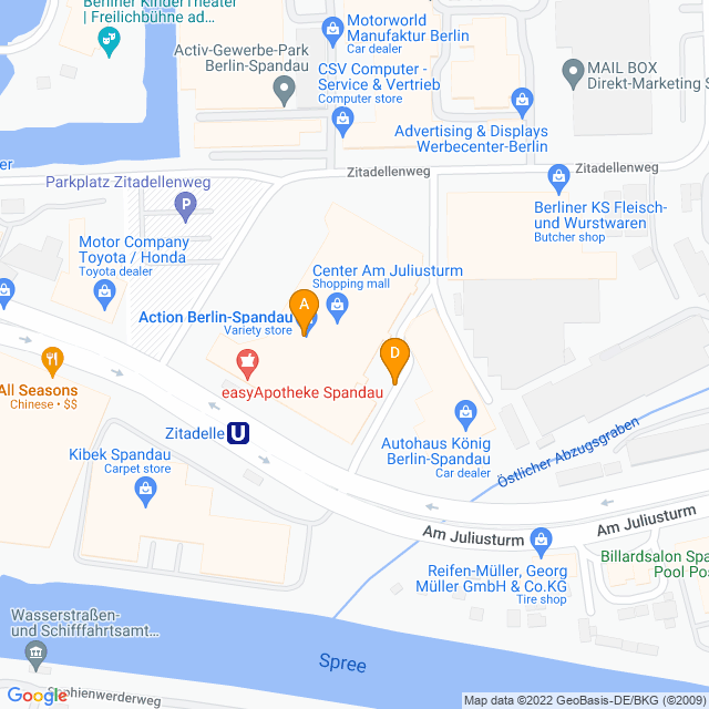 Karte Center am Juliusturm in Spandau