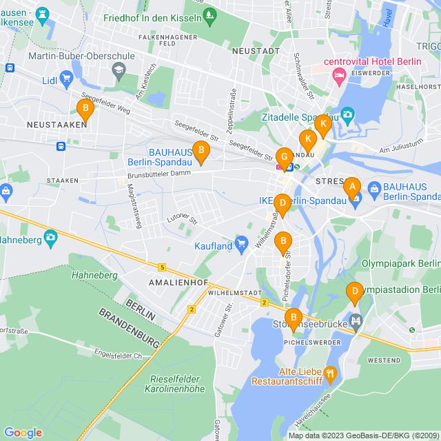 Karte Freizeit & Sport in Spandau
