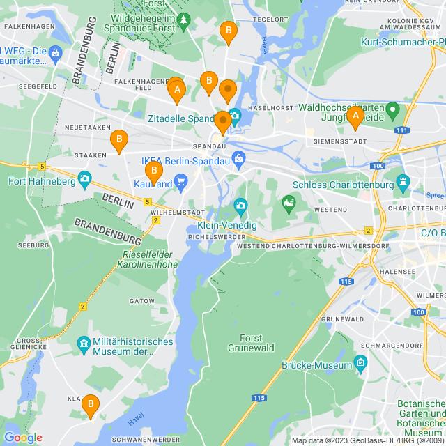 Karte Paketshops in Spandau