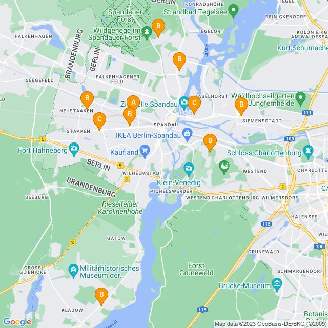 Karte Lieferservice in Spandau