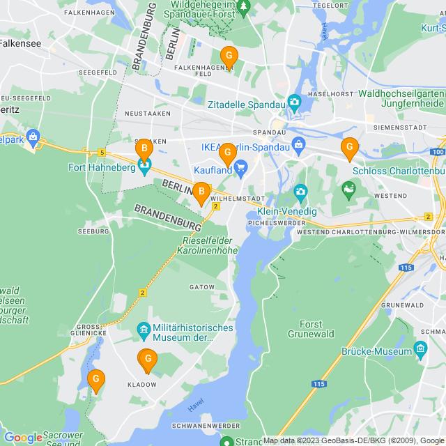 Karte Gärtnereien in Spandau