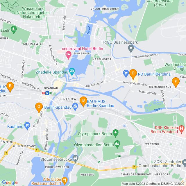 Karte Baumärkte in Spandau
