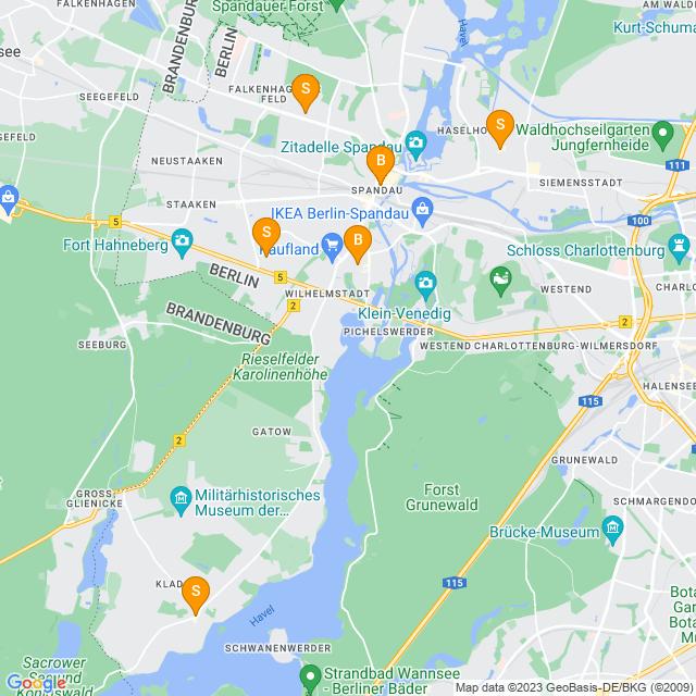 Karte Büchereien in Spandau