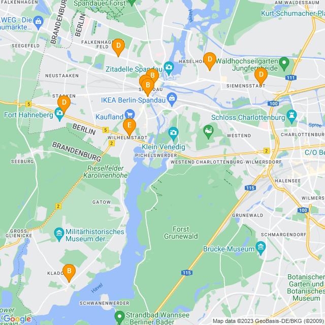Karte Barrierefrei in Spandau