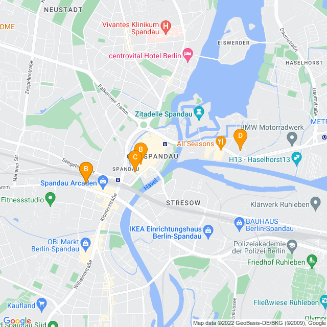 Karte Schuhfachgeschäfte in Spandau