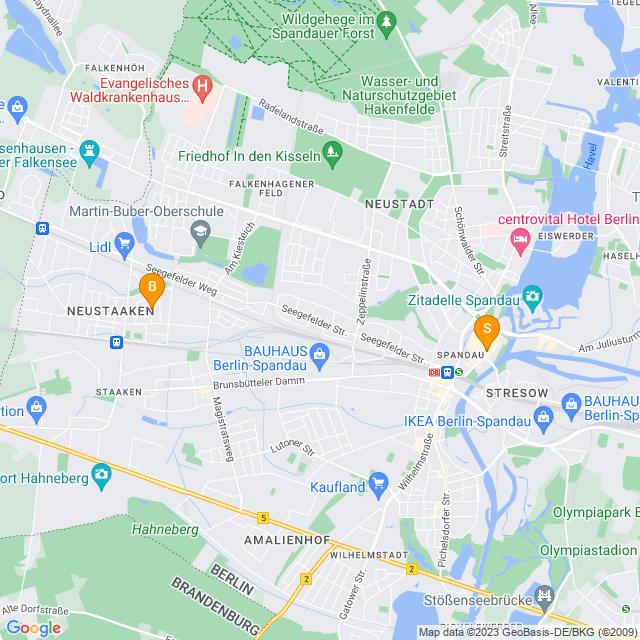 Karte Modelleisenbahn in Spandau