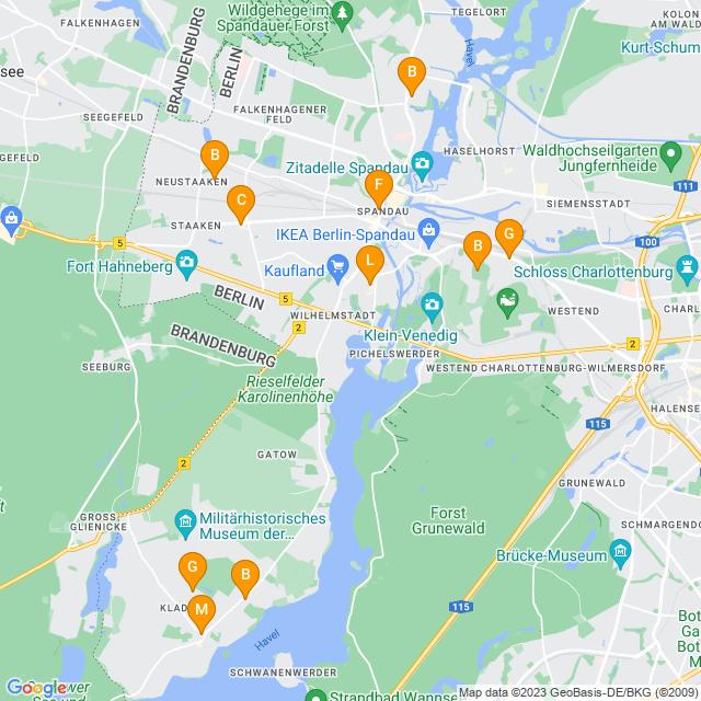 Karte Hochzeitsfloristik in Spandau