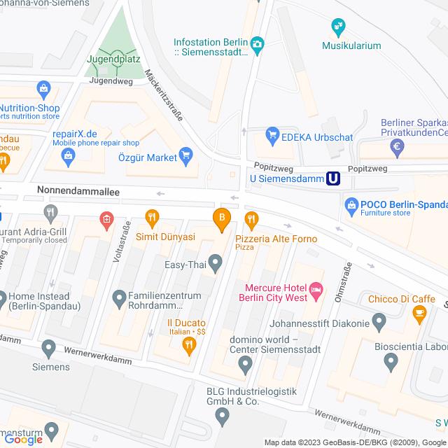 Karte Bücher am Nonnendamm in Spandau