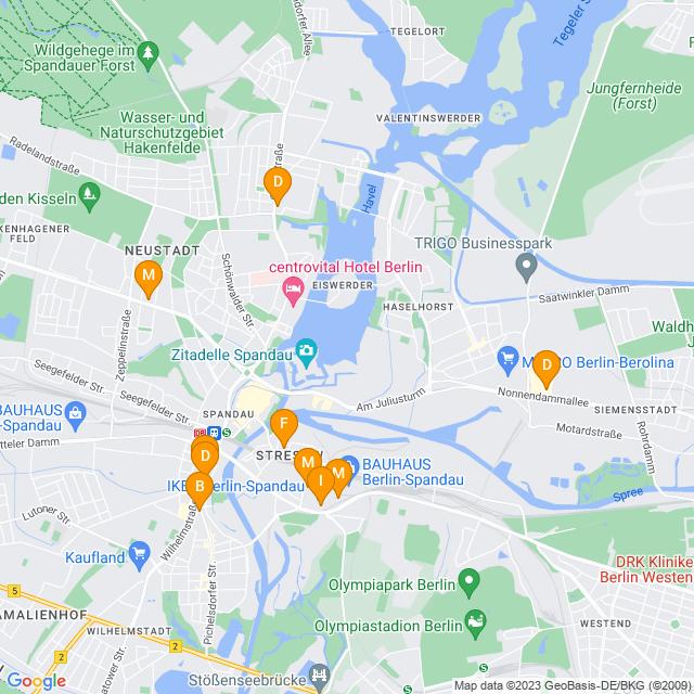 Karte Betten & Matratzen in Spandau