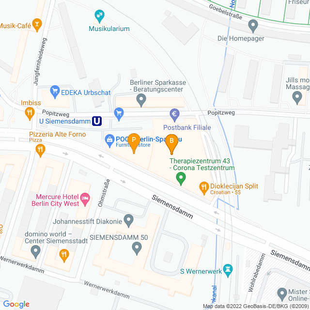 Karte Kaufmitte Siemensstadt in Spandau