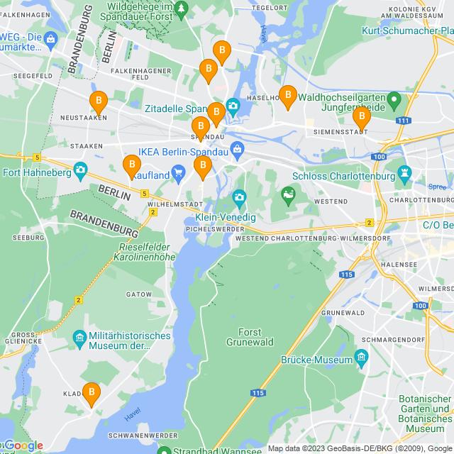 Karte Blumenläden in Spandau