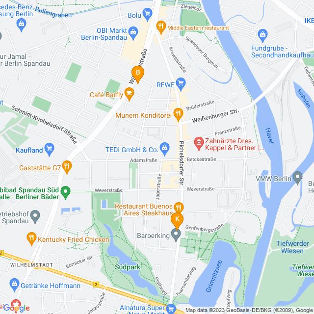 Karte Catering in Spandau