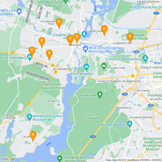 Karte Drogerien in Spandau