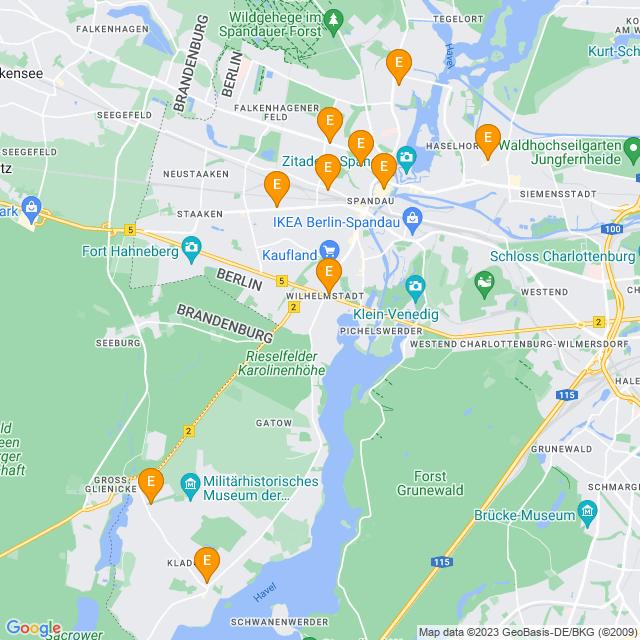 Karte Supermärkte in Spandau