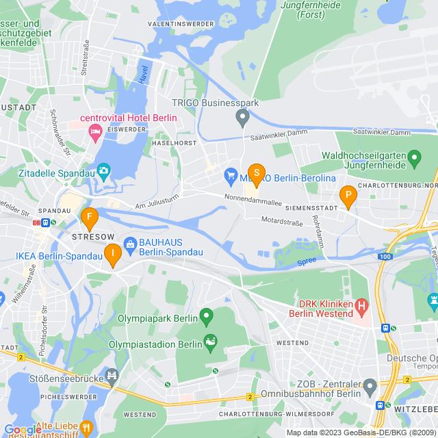 Karte Fahrzeug-Vermietung in Spandau