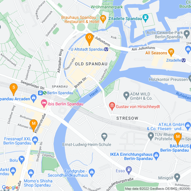 Karte Musikläden in Spandau