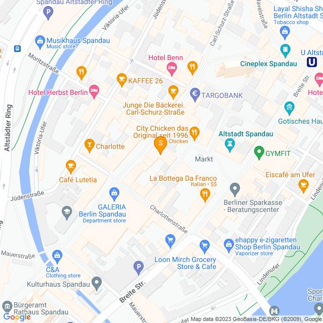 Karte Kaffeebar in Spandau