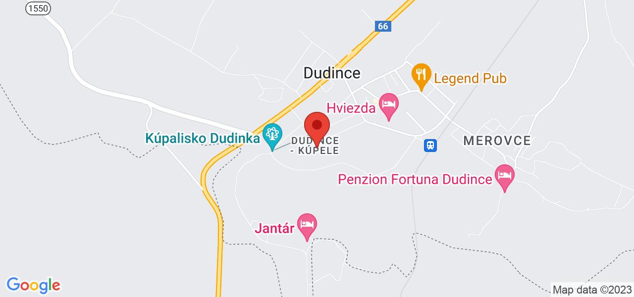 Mapa Liečebný dom Rubín Dudince