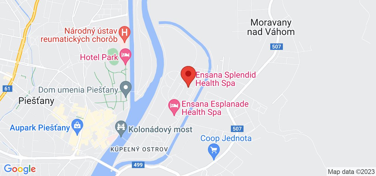 Mapa Kúpeľný Hotel Spa Hotel Splendid*** Piešťany