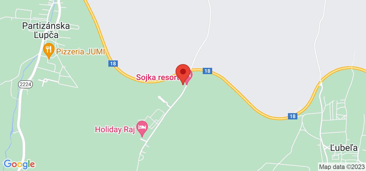 Mapa Relax Hotel Sojka*** Bešeňová