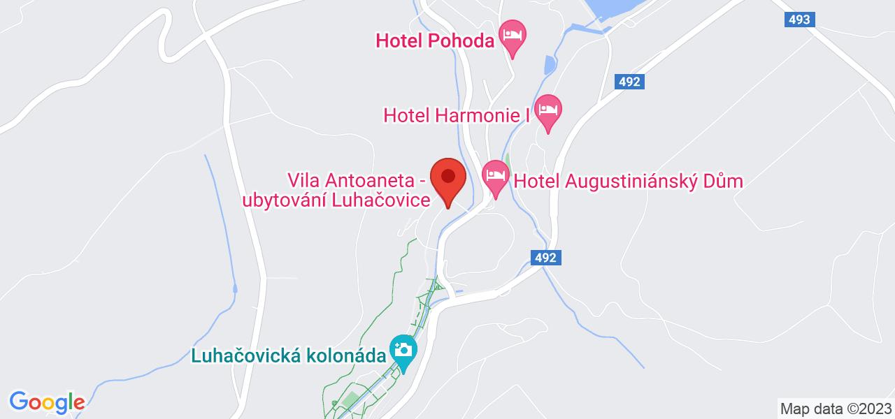 Mapa Hotel Vila Valaška**** Luhačovice