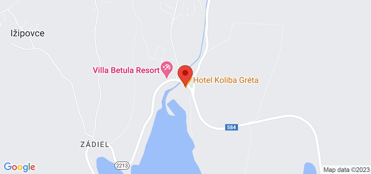 Mapa Hotel Koliba Gréta*** Bešeňová