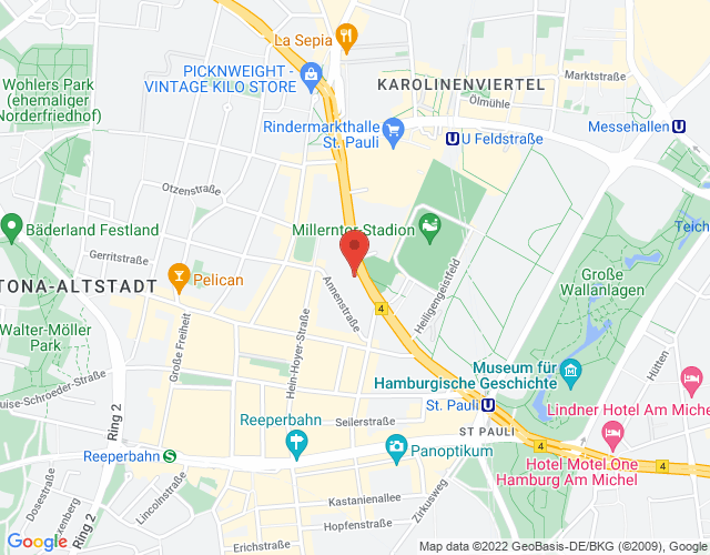 Map for Tierarztpraxis am Millerntor, Budapester Str. 31, 20359 Hamburg