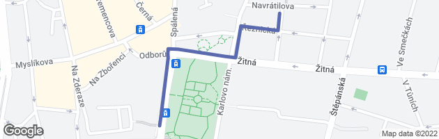 A map depicting the route overlaid over Google Map.